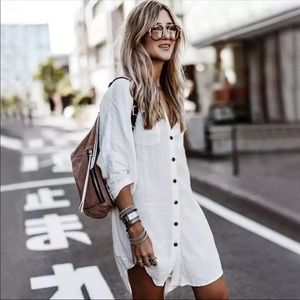 Other - WHITE BUTTON DOWN BEACH TUNIC COVERUP